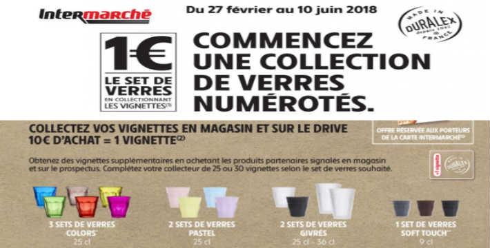 Vignettes Intermarché set de verre Duralex 1 euro