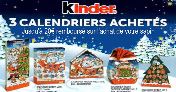 kinder 3 calendriers achet s 20 euros sur sapin www. Black Bedroom Furniture Sets. Home Design Ideas