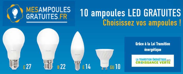 www.mesampoulesgratuites.fr recevoir 10 ampoules LED gratuites