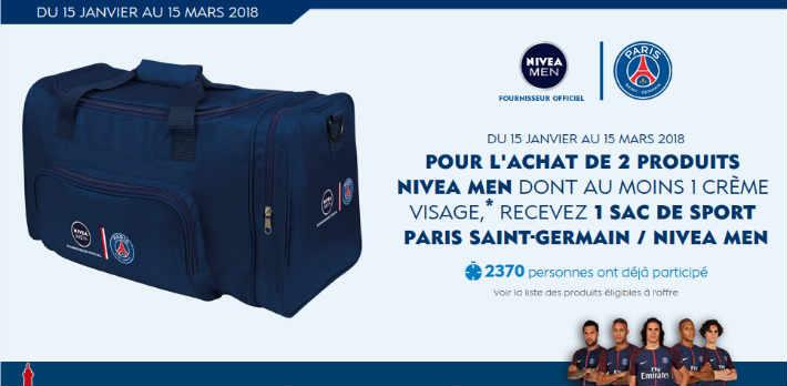 www.niveamen.fr - Nivea Men sac de sport PSG offert