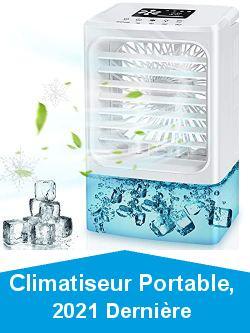 Climatiseur Portable, 2021 Dernière Climatiseur Mobile, 4 en 1 Refroidisseur d\'air Ventilateur Humidificateur Purificateur, réservoir d\'eau 600 ml, 4 vitesses et 2 nébulisation, 7 lumières LED